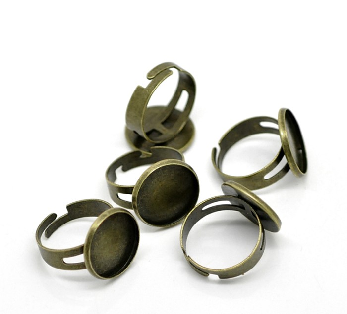 10 Antique Bronze Rings & 16mm Glass Domes Kit .