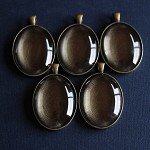 5 Large Antique Bronze Oval Pendant Settings and Glass Domes
