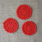 Pack of 3, crochet motives, ornaments, bright red