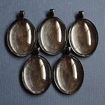 5 Large Black Oval Pendant Settings and Glass Domes