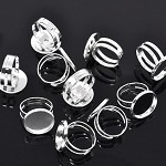 5 Silver Plated Adjustable Ring Settings  & 16mm Glass Domes Kit .