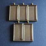 5 Rectangular Antique Bronze Pendant Settings and Glass Domes