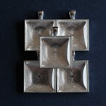 5 Square Silver Plate 25mm Pendant Settings and Glass Domes