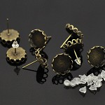5 Pairs Bronze Tone Cabochon Setting Earring Posts