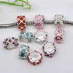 10 Rhinestone Spacer Beads
