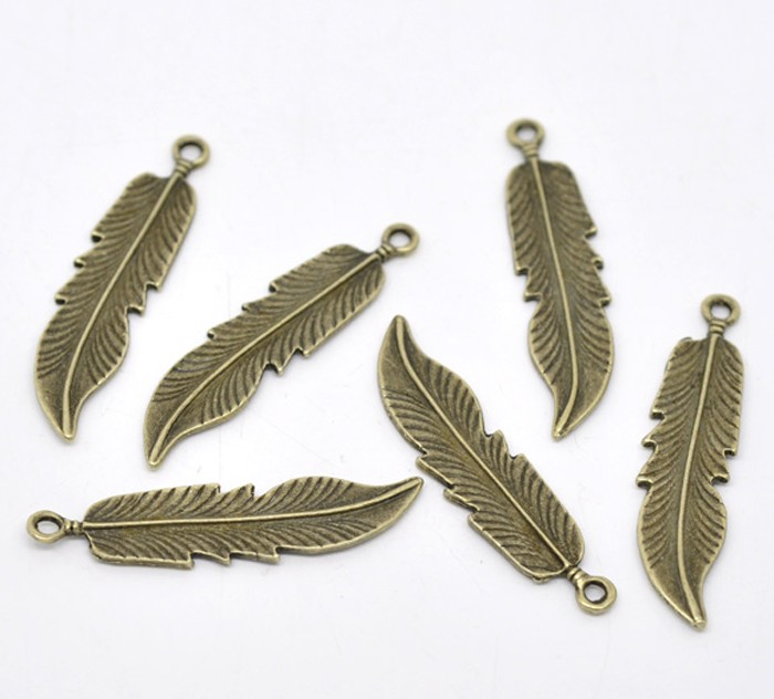 7 Bronze Feather Pendants