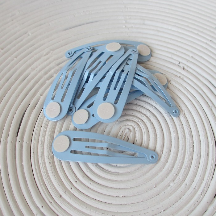 12 x Light Blue Snap/Hair Clips with Glue Pad (50mm)