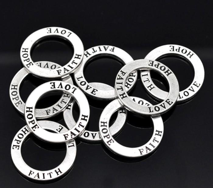 "10 x ""Love Hope Faith"" Ring Pendants"