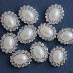 10 Oval Ivory Pearl and Rhinestone Flat Back Buttons