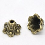 20 Antique Bronze Flower Bead Caps Findings 10x5mm