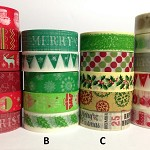 WASHI TAPE CHRISTMAS DESIGNS 12 ROLL FREE POST VALUE PACK - YOU CHOOSE