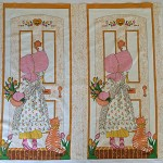 Holly Hobbie 2 fabric panels retro vintage circa 1980 never used never washed