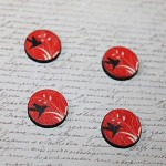 ROUND WOODEN PAINTED BIRD CABOCHONS - 4 PACK
