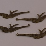 4 Antique Bronze Swallow Charm Pendants