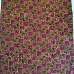 Batik Pekalongan fabric red and brown  NEW never washed, whole piece