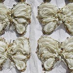 6 Ivory shabby chiffon butterflies with gold braid & sequins - for embellishment