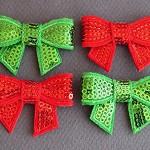 Pretty Sequin Bows - Christmas Colours