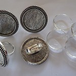 10 x 25mm Cameo antique silver ring blanks and glass domes