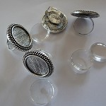 10 x 20mm Cameo antique silver ring blanks and glass domes