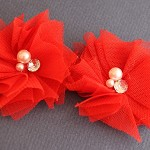 2 Red Tulle, Rhinestone & Pearl Flower Embellishments for Clips/ Headbands