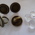 10 x 20mm Cameo antique bronze ring blanks and glass domes