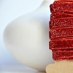 Red Velvet Glitter Ribbon {5.0m} Sparkly Gift Ribbon | Glitter Gift Ribbon