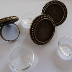 10 x 25mm Cameo antique bronze ring blanks AND glass domes