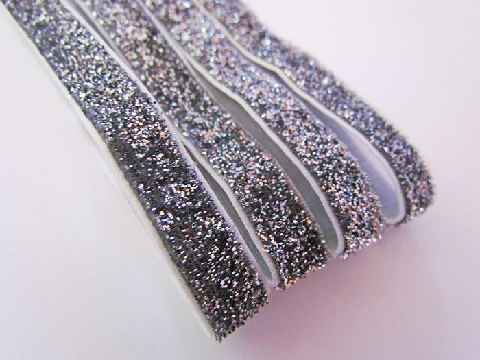 4 Silver Glitter Elastic Headbands