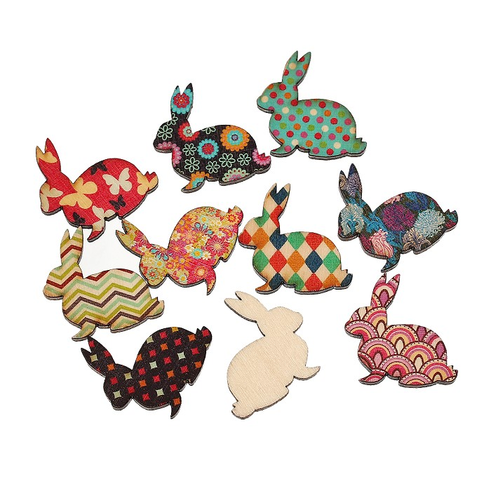 10 Wooden Printed Design Easter Bunny/Rabbits- Random Selection