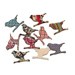 10 Wooden Printed Design Birds- Random Selection