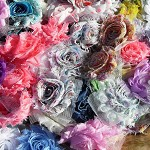 LUCKY DIP - 20 mixed random shabby chiffon flowers - for hairclips & craft