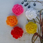 20 Resin Rose Cabochons, Sunset Rose