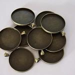 10 x Round 38mm Antique bronze pendant trays