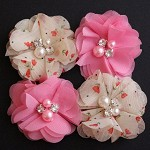 4 Chiffon Rhinestone & Pearl Peonie Flowers - Pink and Floral