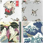 Japanese fabric bundle panels Sumo Geisha Waves all cotton 3 pieces
