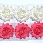 Ivory Cream & Strawberry Pink combo 10 shabby chiffon rose flowers - fabric trim