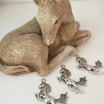 3pcs Silvertone REARING HORSE Charms