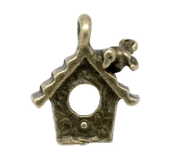 18 Antique Bronze Bird House Charm Pendants