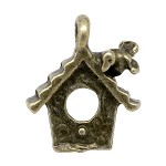 20 Antique Bronze Bird House Charm Pendants