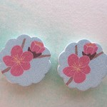 4Pcs 18mm Flower Shape Handmade Photo Wood Cut Cabochon -- HWC102N