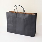 40x MEDIUM Boutique Black Kraft Paper CARRY BAGS - 257 (h) x 342 (w) x 106(g) mm