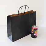 20x MEDIUM Boutique Black Kraft Paper CARRY BAGS - 257 (h) x 342 (w) x 106(g) mm