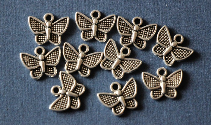 10 Charm Pendants Butterfly Antique Silver