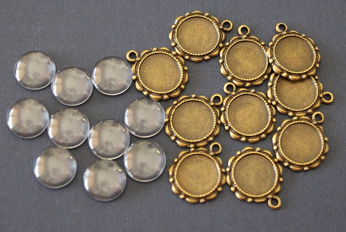 10 x21mm (fits14mm) Antique Bronze Pendant Trays and Glass Domes (5 pairs)