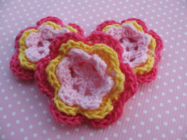 5 Pink and Yellow Crochet Flowers- LAST SET