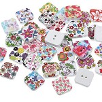 10 Printed Design Square Wooden Buttons- Random Selection