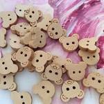 30 wooden button teddy bear head buttons