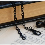 10 Black Rolo Chains Necklaces, 60 cm