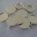 10 x 16mm pendant trays Silver plated