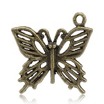 10 Charm Pendants Butterflies Antique Bronze